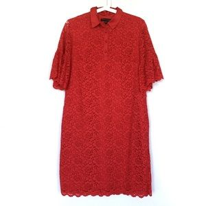 Banana Republic Red Flutter Sleeve Lace Polo Dress